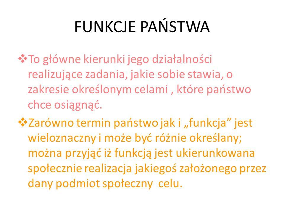 FUNKCJE PAŃSTWA To główne kierunki jego działalności realizujące zadania, jakie sobie stawia, o zakresie określonym celami, które państwo chce osiągną