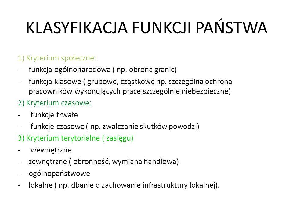 KLASYFIKACJA FUNKCJI PAŃSTWA 1) Kryterium społeczne: -funkcja ogólnonarodowa ( np. obrona granic) -funkcja klasowe ( grupowe, cząstkowe np. szczególna