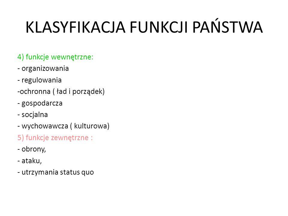KLASYFIKACJA FUNKCJI PAŃSTWA 4) funkcje wewnętrzne: - organizowania - regulowania -ochronna ( ład i porządek) - gospodarcza - socjalna - wychowawcza (