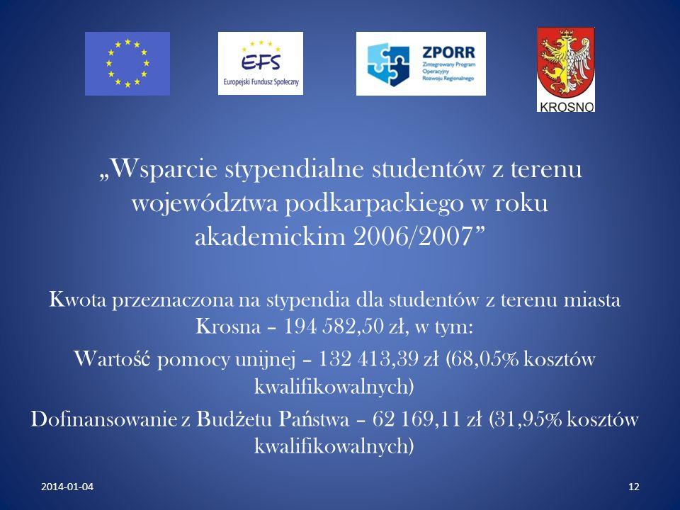 Wsparcie stypendialne studentów z terenu województwa podkarpackiego w roku akademickim 2006/2007 Kwota przeznaczona na stypendia dla studentów z terenu miasta Krosna – 194 582,50 z ł, w tym: Warto ść pomocy unijnej – 132 413,39 z ł (68,05% kosztów kwalifikowalnych) Dofinansowanie z Bud ż etu Pa ń stwa – 62 169,11 z ł (31,95% kosztów kwalifikowalnych) 122014-01-04