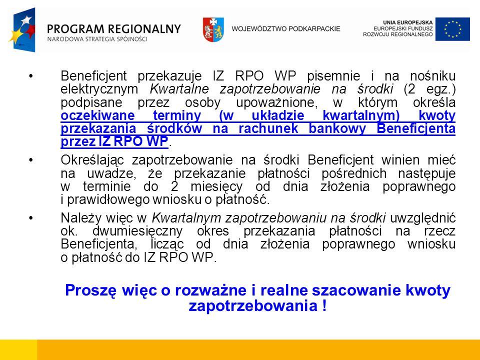 Beneficjent przekazuje IZ RPO WP pisemnie i na nośniku elektrycznym Kwartalne zapotrzebowanie na środki (2 egz.) podpisane przez osoby upoważnione, w którym określa oczekiwane terminy (w układzie kwartalnym) kwoty przekazania środków na rachunek bankowy Beneficjenta przez IZ RPO WP.