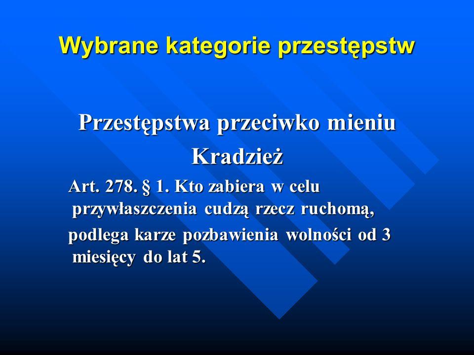 Wybrane kategorie przestępstw Przestępstwa przeciwko mieniu Kradzież Art. 278. § 1. Kto zabiera w celu przywłaszczenia cudzą rzecz ruchomą, Art. 278.