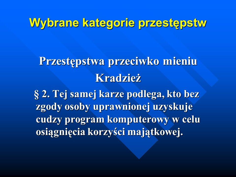 Wybrane kategorie przestępstw Przestępstwa przeciwko mieniu Kradzież § 2. Tej samej karze podlega, kto bez zgody osoby uprawnionej uzyskuje cudzy prog