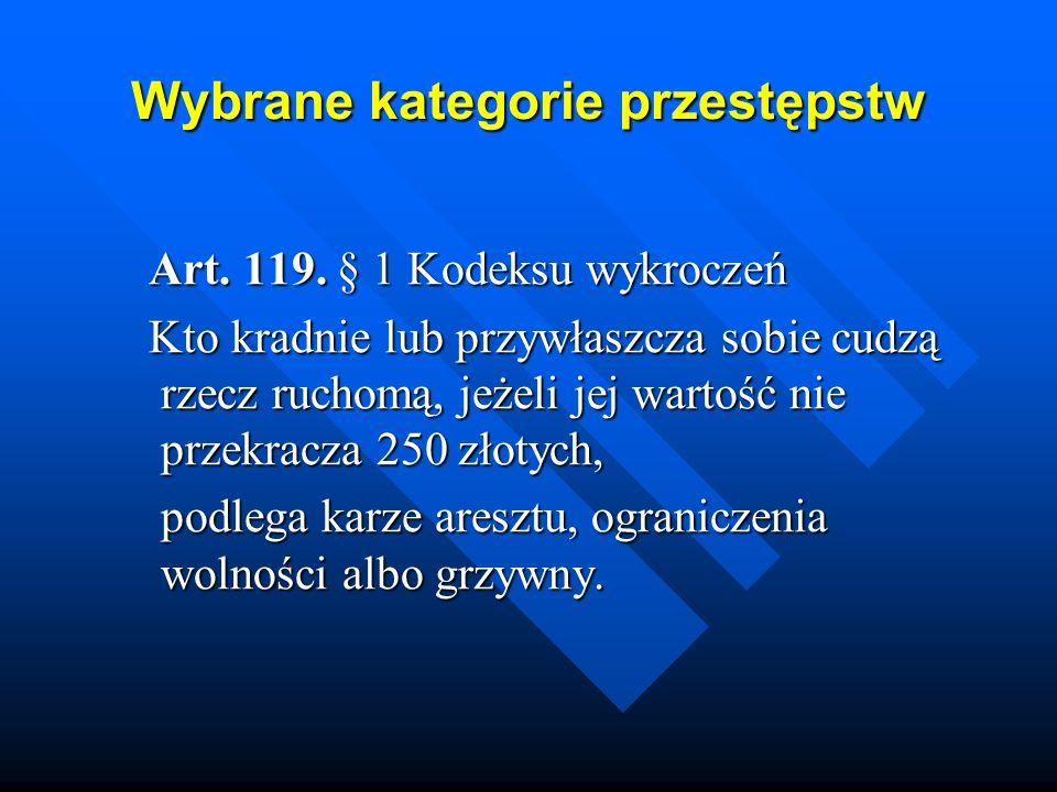 Wybrane kategorie przestępstw Art. 119. § 1 Kodeksu wykroczeń Art. 119. § 1 Kodeksu wykroczeń Kto kradnie lub przywłaszcza sobie cudzą rzecz ruchomą,