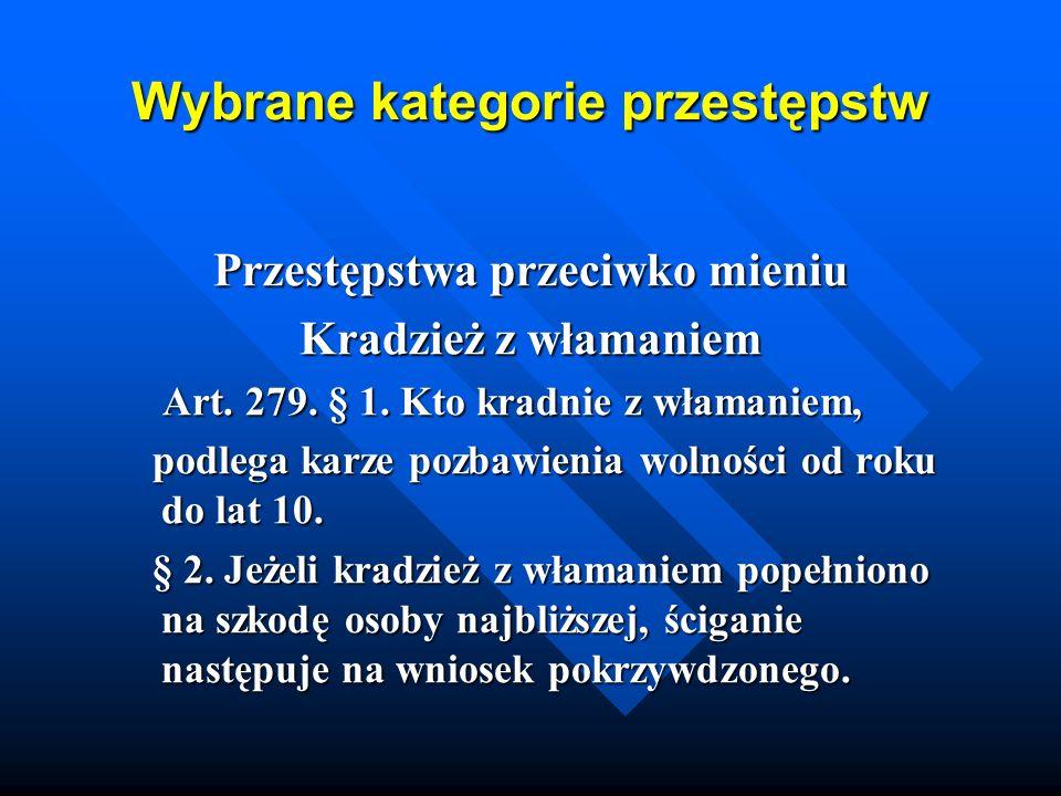 Wybrane kategorie przestępstw Przestępstwa przeciwko mieniu Kradzież z włamaniem Art. 279. § 1. Kto kradnie z włamaniem, Art. 279. § 1. Kto kradnie z