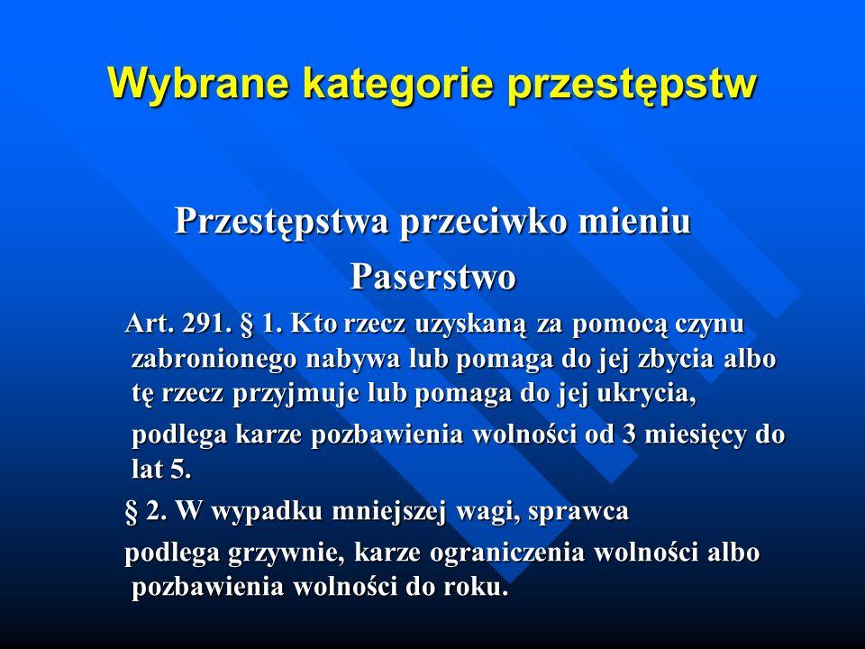 Wybrane kategorie przestępstw Przestępstwa przeciwko mieniu Paserstwo Art. 291. § 1. Kto rzecz uzyskaną za pomocą czynu zabronionego nabywa lub pomaga