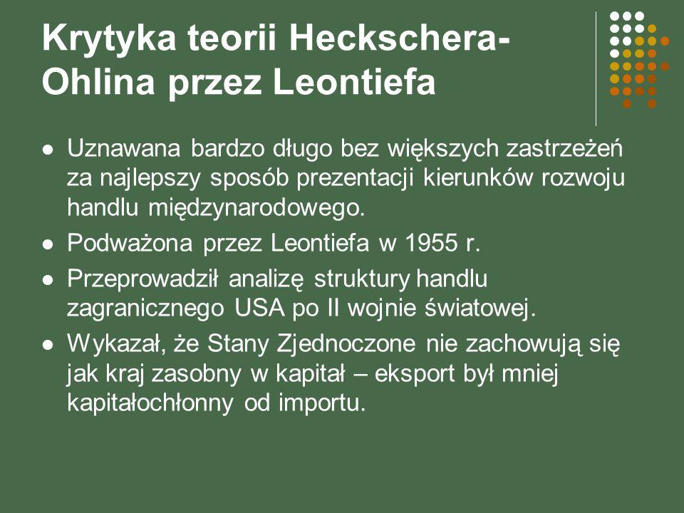 Krytyka teorii Heckschera- Ohlina przez Leontiefa Uznawana bardzo długo bez większych zastrzeżeń za najlepszy sposób prezentacji kierunków rozwoju han