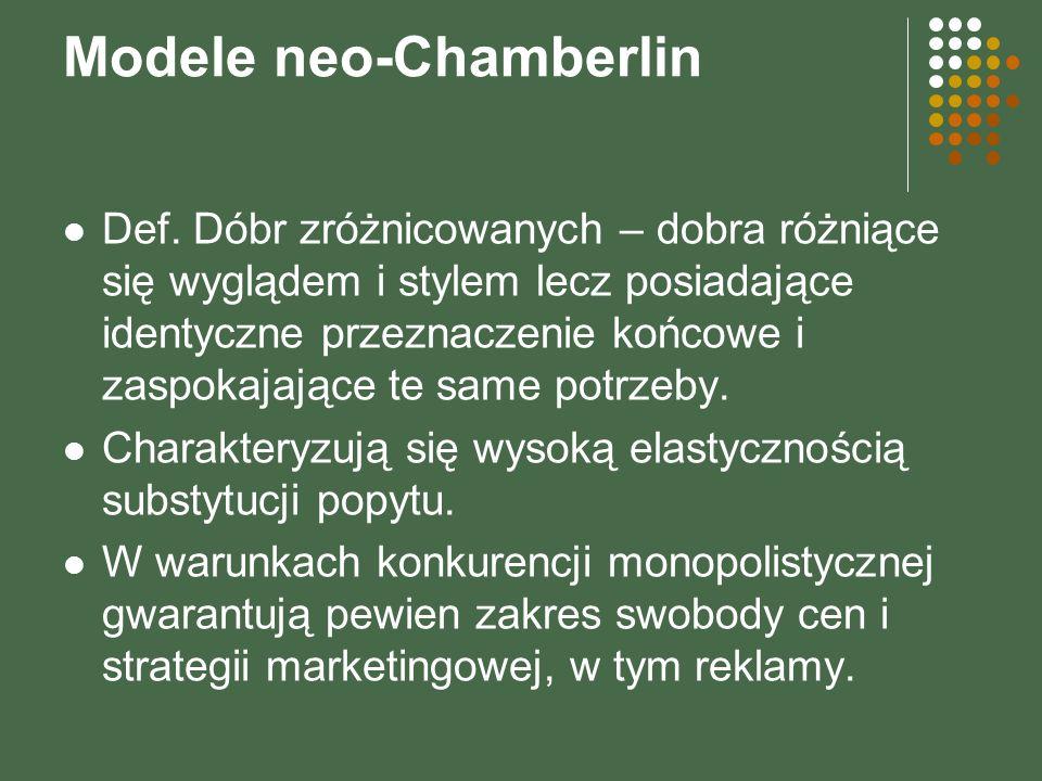 Modele neo-Chamberlin Def. Dóbr zróżnicowanych – dobra różniące się wyglądem i stylem lecz posiadające identyczne przeznaczenie końcowe i zaspokajając