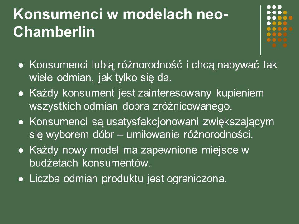 Konsumenci w modelach neo- Chamberlin Konsumenci lubią różnorodność i chcą nabywać tak wiele odmian, jak tylko się da. Każdy konsument jest zaintereso