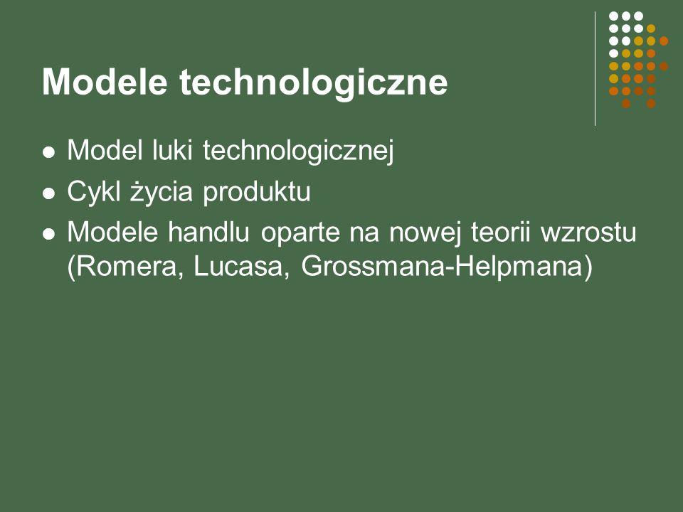 Modele technologiczne Model luki technologicznej Cykl życia produktu Modele handlu oparte na nowej teorii wzrostu (Romera, Lucasa, Grossmana-Helpmana)