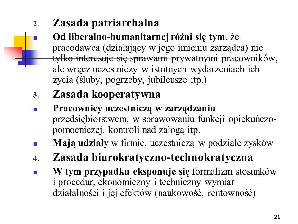 21 2. Zasada patriarchalna Od liberalno-humanitarnej różni się tym, że pracodawca (działający w jego imieniu zarządca) nie tylko interesuje się sprawa