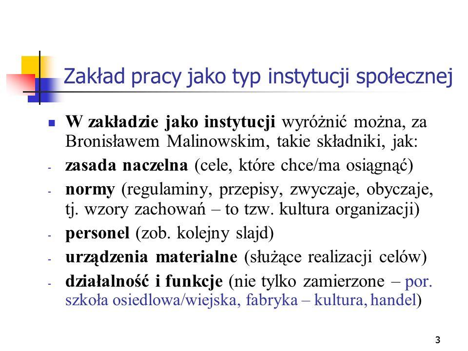 333 Zakład pracy jako typ instytucji społecznej W zakładzie jako instytucji wyróżnić można, za Bronisławem Malinowskim, takie składniki, jak: - zasada