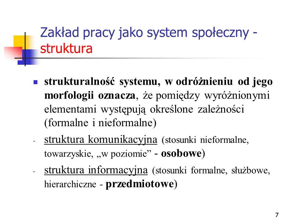 777 Zakład pracy jako system społeczny - struktura strukturalność systemu, w odróżnieniu od jego morfologii oznacza, że pomiędzy wyróżnionymi elementa