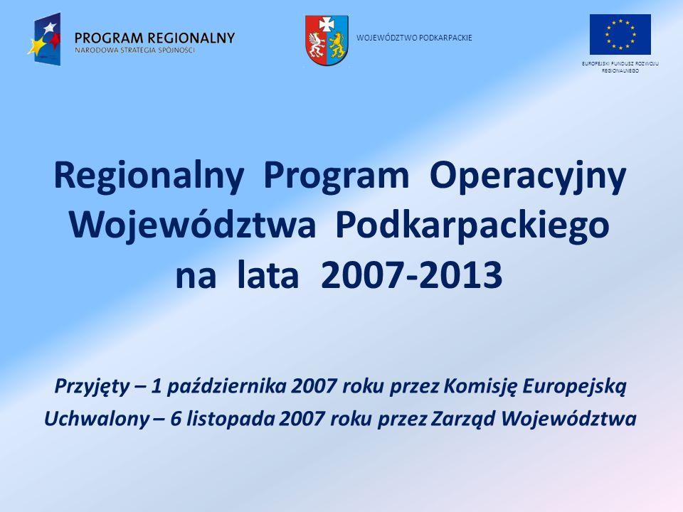 Regionalny Program Operacyjny Województwa Podkarpackiego na lata 2007-2013 Przyjęty – 1 października 2007 roku przez Komisję Europejską Uchwalony – 6 listopada 2007 roku przez Zarząd Województwa EUROPEJSKI FUNDUSZ ROZWOJU REGIONALNEGO WOJEWÓDZTWO PODKARPACKIE