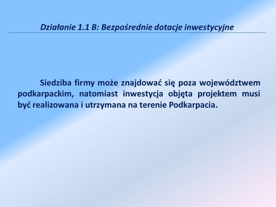 Działanie 1.1 B: Bezpośrednie dotacje inwestycyjne Siedziba firmy może znajdować się poza województwem podkarpackim, natomiast inwestycja objęta proje