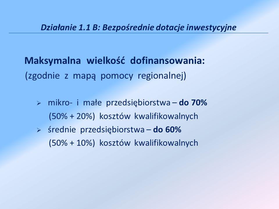 Działanie 1.1 B: Bezpośrednie dotacje inwestycyjne Maksymalna wielkość dofinansowania: (zgodnie z mapą pomocy regionalnej) mikro- i małe przedsiębiors