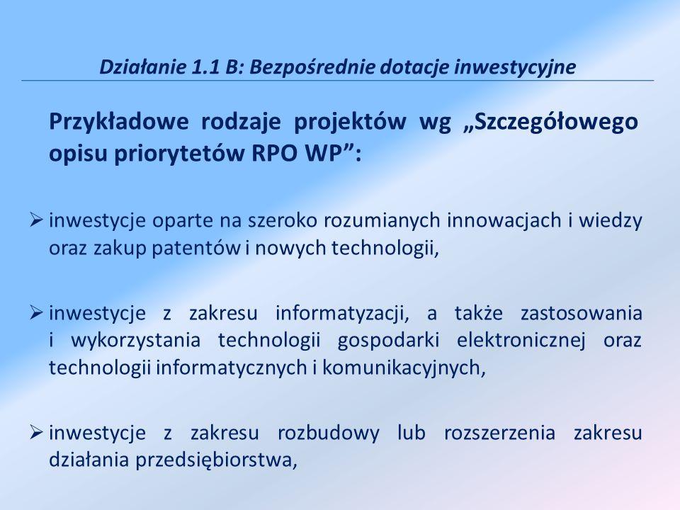 Działanie 1.1 B: Bezpośrednie dotacje inwestycyjne Przykładowe rodzaje projektów wg Szczegółowego opisu priorytetów RPO WP: inwestycje oparte na szero