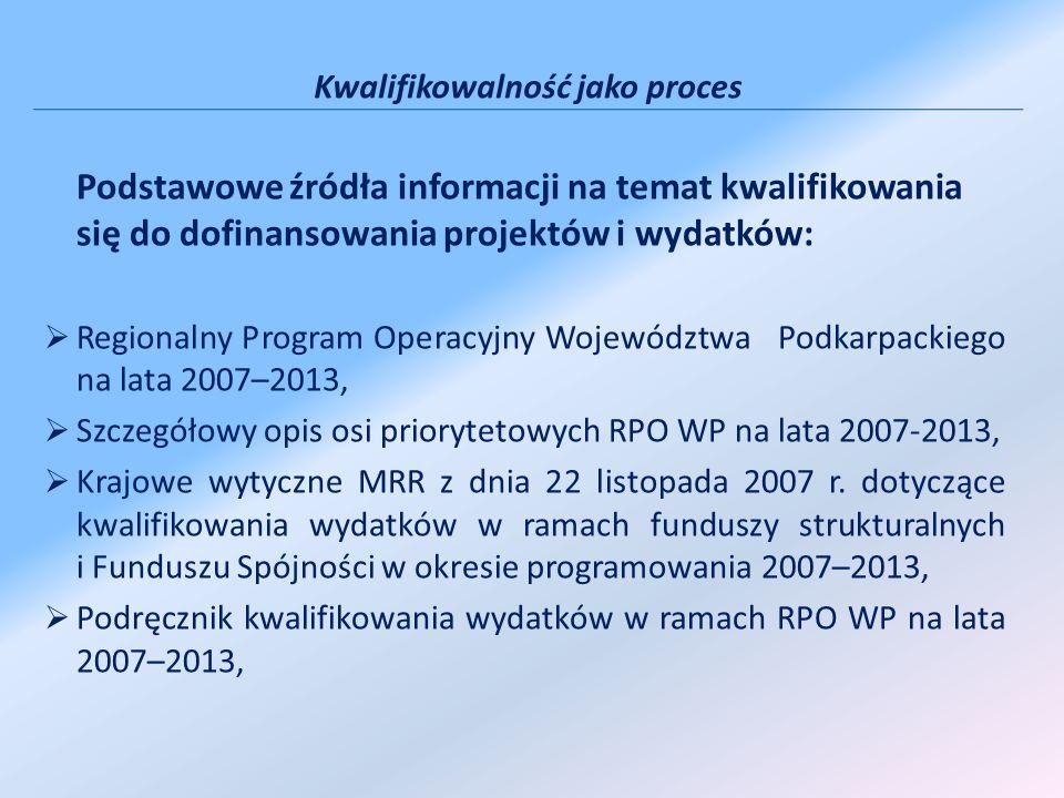 Podstawowe źródła informacji na temat kwalifikowania się do dofinansowania projektów i wydatków: Regionalny Program Operacyjny Województwa Podkarpackiego na lata 2007–2013, Szczegółowy opis osi priorytetowych RPO WP na lata 2007-2013, Krajowe wytyczne MRR z dnia 22 listopada 2007 r.
