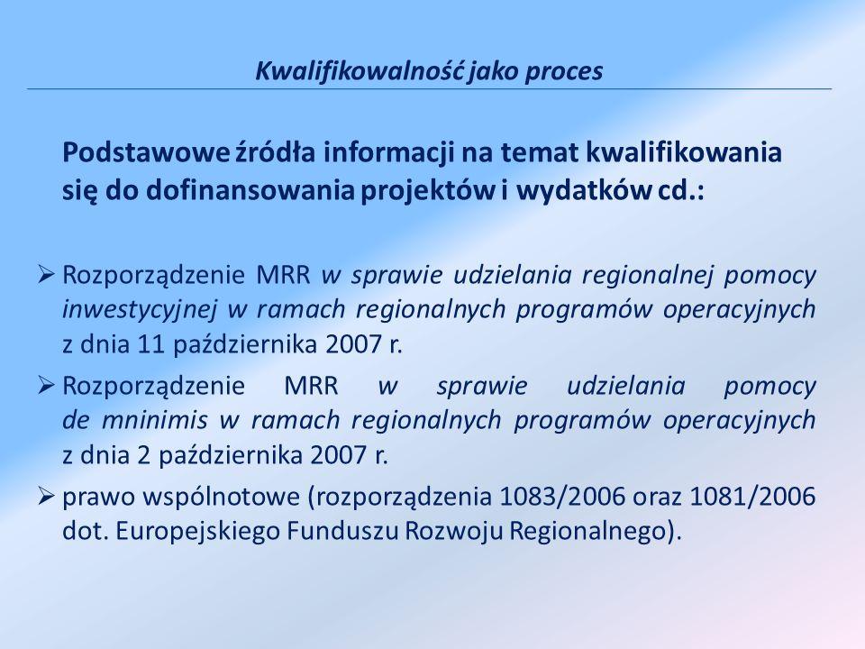 Kwalifikowalność jako proces Podstawowe źródła informacji na temat kwalifikowania się do dofinansowania projektów i wydatków cd.: Rozporządzenie MRR w
