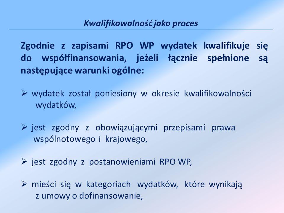 Kwalifikowalność jako proces Zgodnie z zapisami RPO WP wydatek kwalifikuje się do współfinansowania, jeżeli łącznie spełnione są następujące warunki o