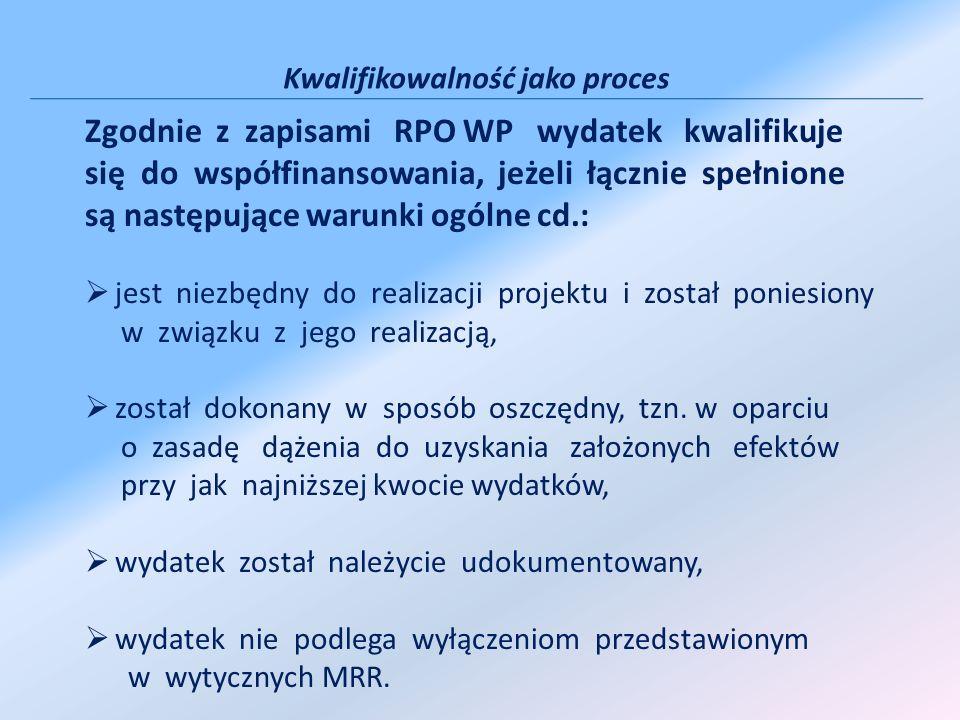 Kwalifikowalność jako proces Zgodnie z zapisami RPO WP wydatek kwalifikuje się do współfinansowania, jeżeli łącznie spełnione są następujące warunki ogólne cd.: jest niezbędny do realizacji projektu i został poniesiony w związku z jego realizacją, został dokonany w sposób oszczędny, tzn.