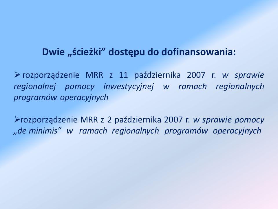 Dwie ścieżki dostępu do dofinansowania: rozporządzenie MRR z 11 października 2007 r.
