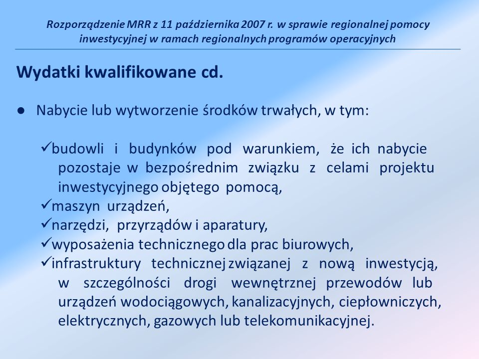 Rozporządzenie MRR z 11 października 2007 r.