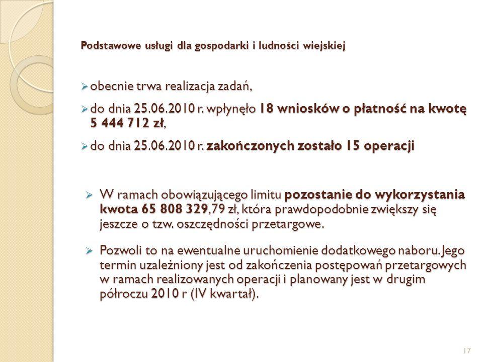 Podstawowe usługi dla gospodarki i ludności wiejskiej obecnie trwa realizacja zadań, obecnie trwa realizacja zadań, do dnia 25.06.2010 r. wpłynęło 18