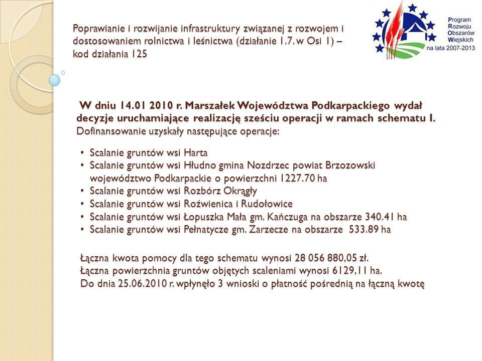 W dniu 14.01 2010 r. Marszałek Województwa Podkarpackiego wydał decyzje uruchamiające realizację sześciu operacji w ramach schematu I. Dofinansowanie