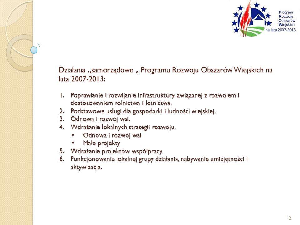 Działania samorządowe Programu Rozwoju Obszarów Wiejskich na lata 2007-2013: 1.Poprawianie i rozwijanie infrastruktury związanej z rozwojem i dostosow
