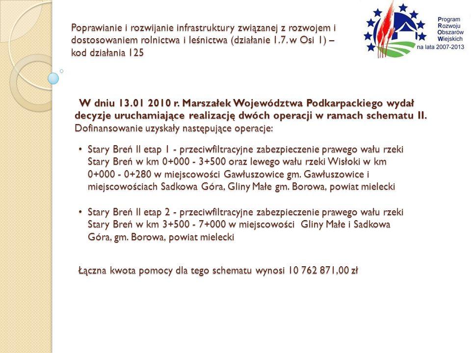 W dniu 13.01 2010 r. Marszałek Województwa Podkarpackiego wydał decyzje uruchamiające realizację dwóch operacji w ramach schematu II. Dofinansowanie u