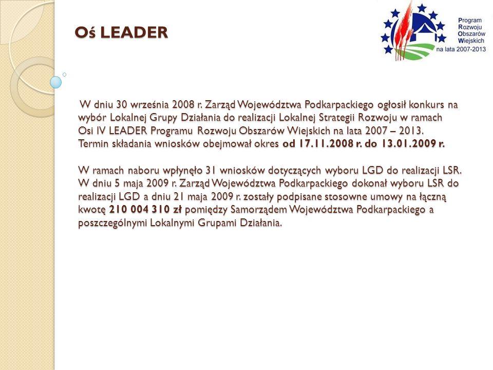 W dniu 30 września 2008 r. Zarząd Województwa Podkarpackiego ogłosił konkurs na wybór Lokalnej Grupy Działania do realizacji Lokalnej Strategii Rozwoj