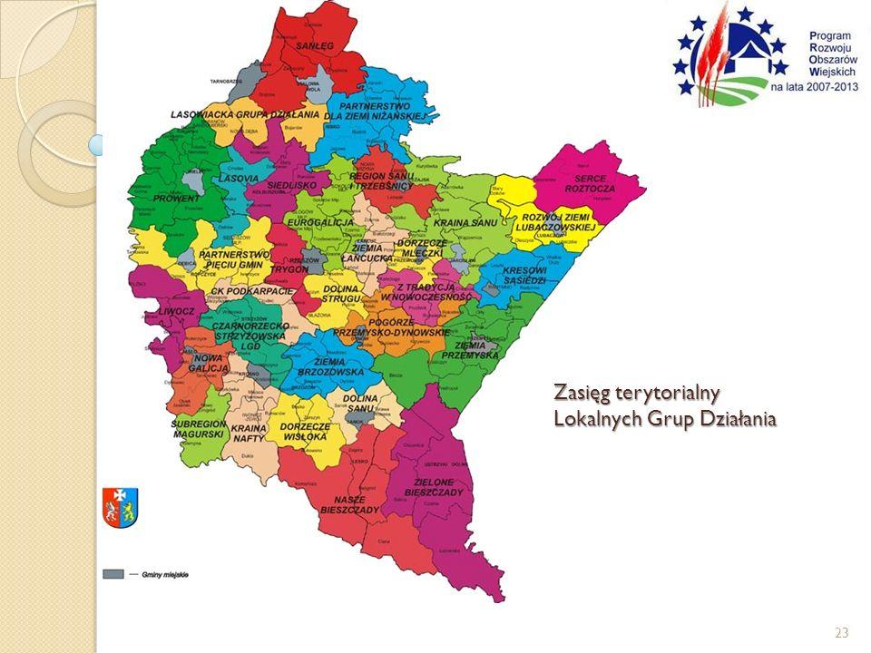 Zasięg terytorialny Lokalnych Grup Działania 23