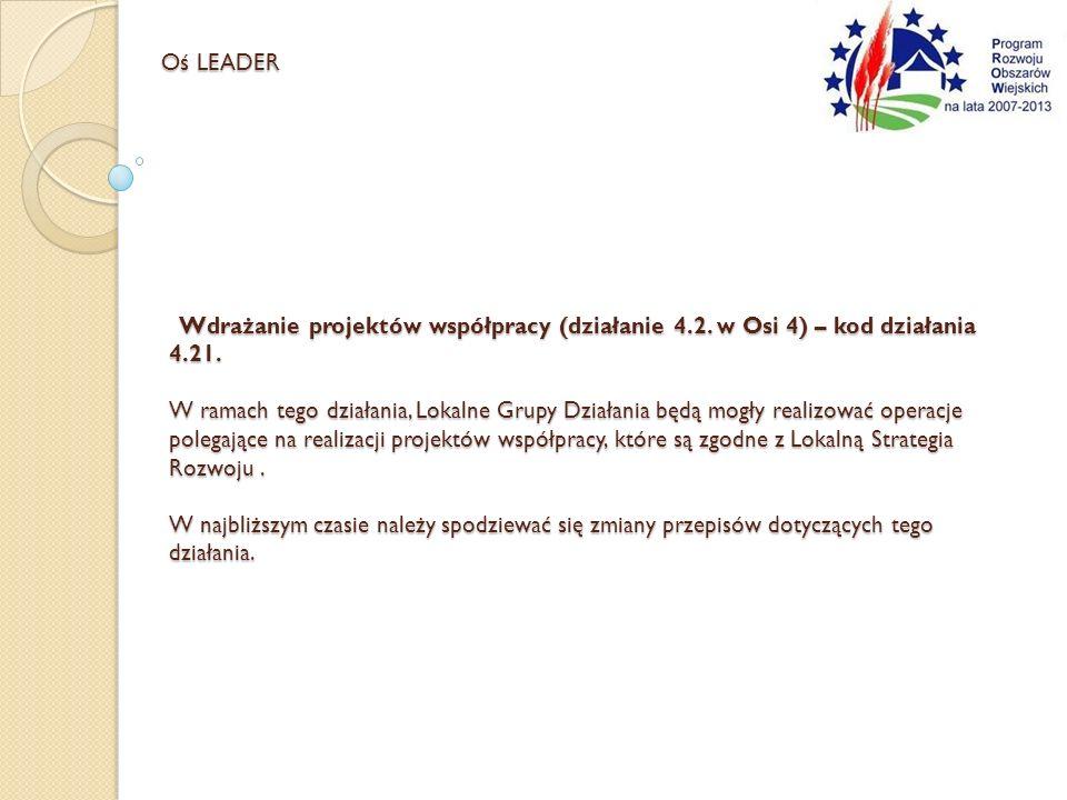 Wdrażanie projektów współpracy (działanie 4.2. w Osi 4) – kod działania 4.21. W ramach tego działania, Lokalne Grupy Działania będą mogły realizować o