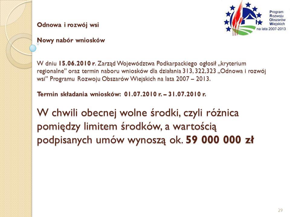 Odnowa i rozwój wsi Nowy nabór wniosków W dniu 15.06.2010 r. Zarząd Województwa Podkarpackiego ogłosił kryterium regionalne oraz termin naboru wnioskó