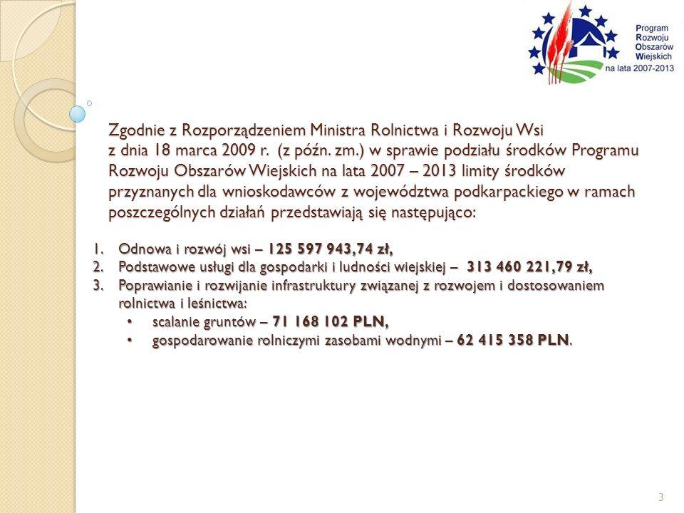 Zgodnie z Rozporządzeniem Ministra Rolnictwa i Rozwoju Wsi z dnia 18 marca 2009 r. (z późn. zm.) w sprawie podziału środków Programu Rozwoju Obszarów