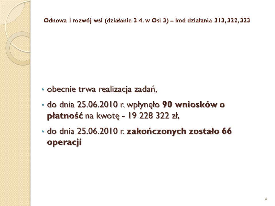 Odnowa i rozwój wsi (działanie 3.4. w Osi 3) – kod działania 313, 322, 323 Odnowa i rozwój wsi (działanie 3.4. w Osi 3) – kod działania 313, 322, 323