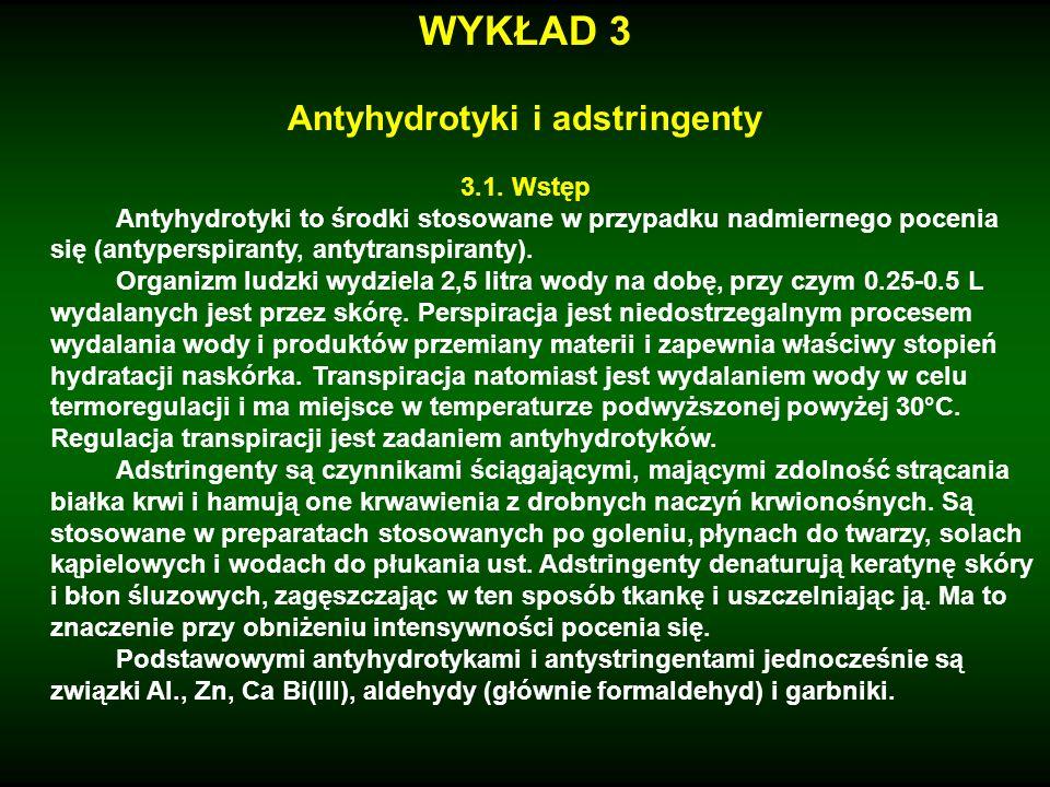 WYKŁAD 3 Antyhydrotyki i adstringenty 3.1. Wstęp Antyhydrotyki to środki stosowane w przypadku nadmiernego pocenia się (antyperspiranty, antytranspira