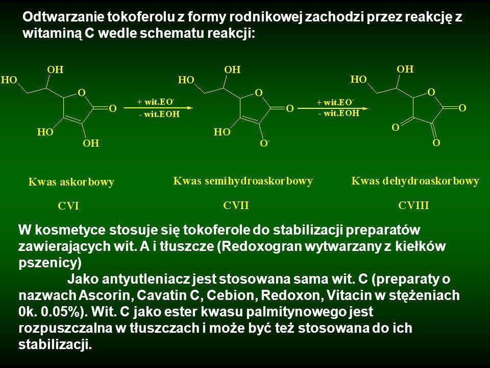 Odtwarzanie tokoferolu z formy rodnikowej zachodzi przez reakcję z witaminą C wedle schematu reakcji: W kosmetyce stosuje się tokoferole do stabilizac