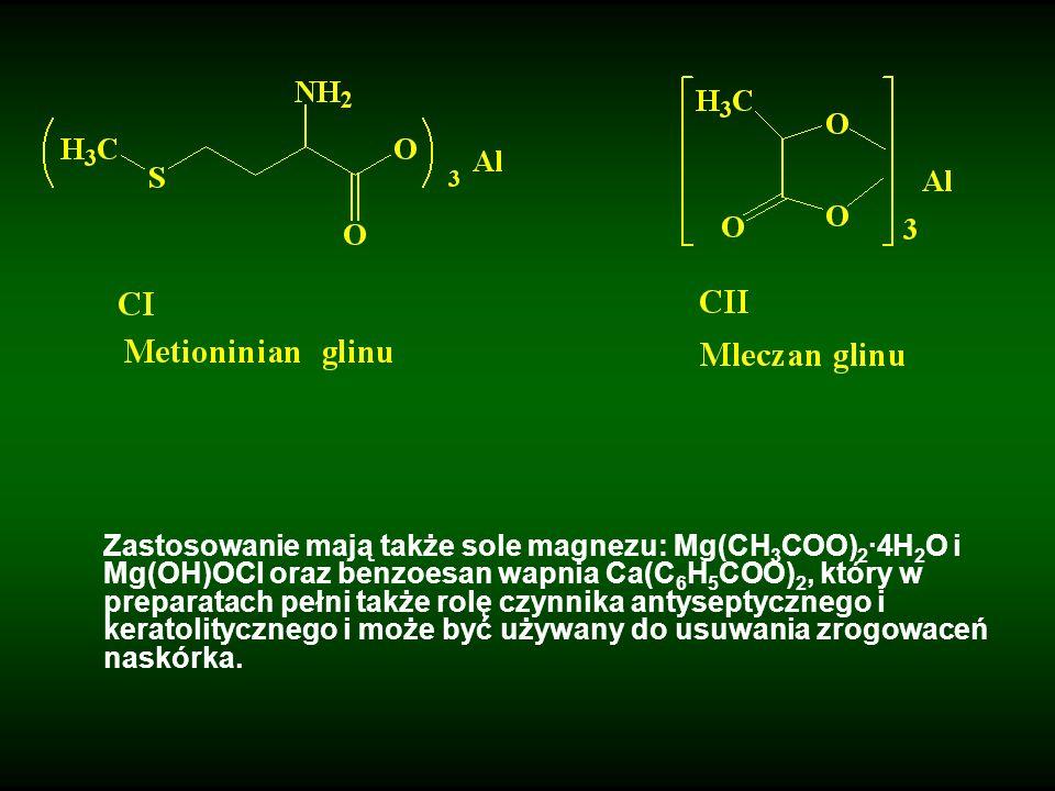 Zastosowanie mają także sole magnezu: Mg(CH 3 COO) 2 ·4H 2 O i Mg(OH)OCl oraz benzoesan wapnia Ca(C 6 H 5 COO) 2, który w preparatach pełni także rolę