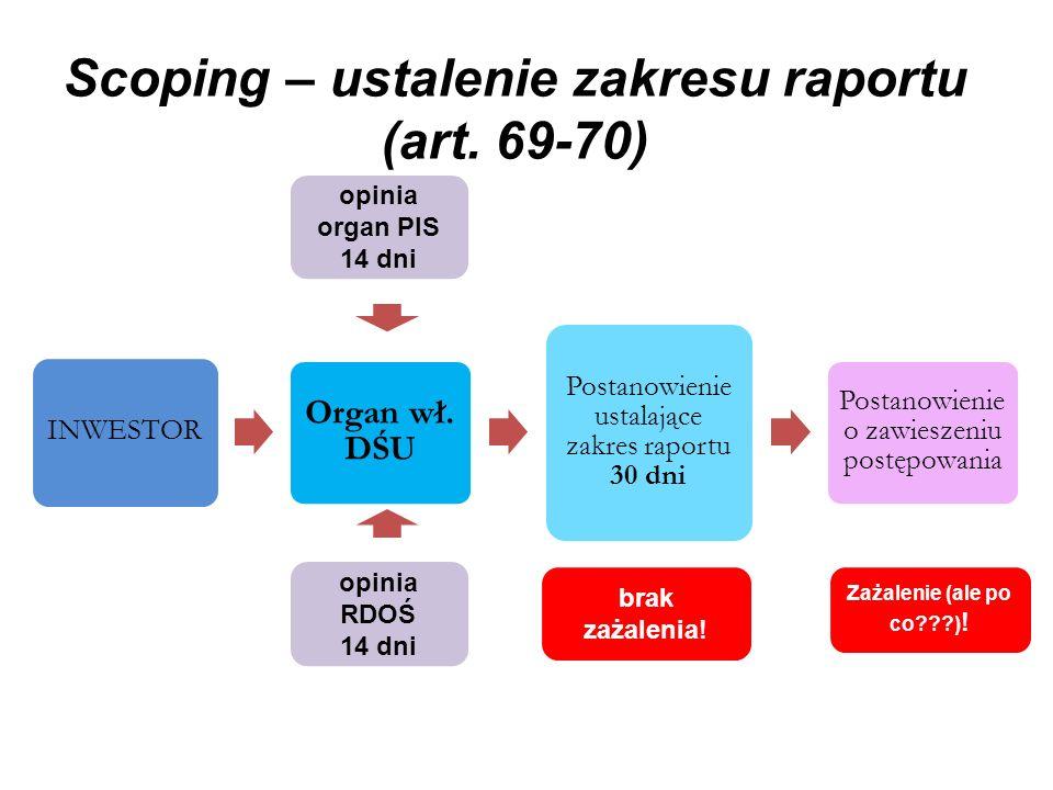 Scoping – ustalenie zakresu raportu (art. 69-70) INWESTOR Organ wł. DŚU Postanowienie ustalające zakres raportu 30 dni Postanowienie o zawieszeniu pos