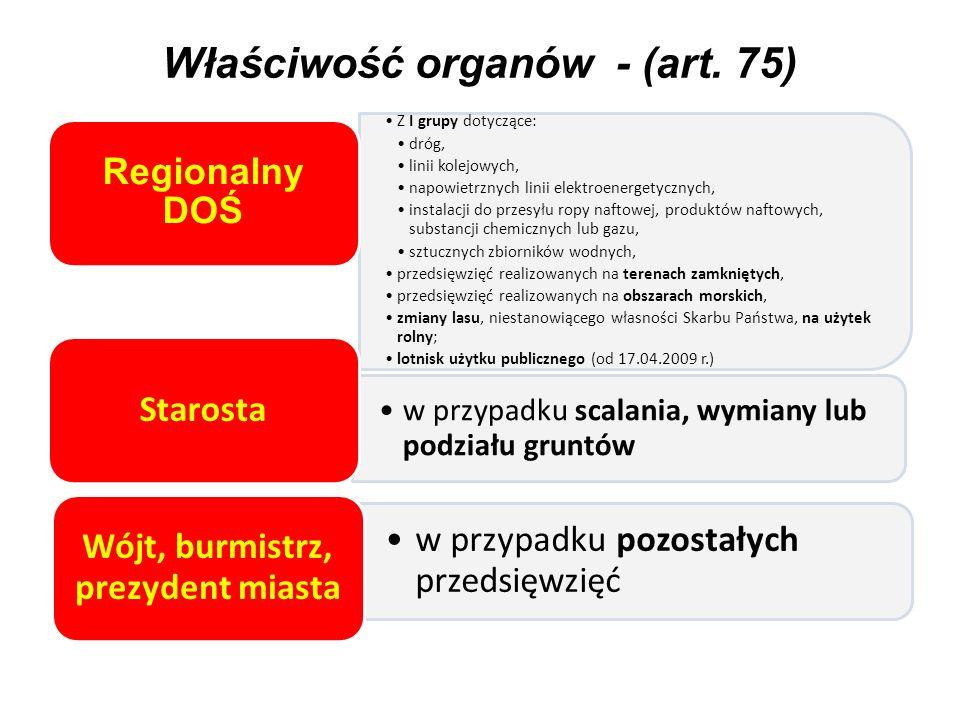Właściwość organów - (art. 75) Z I grupy dotyczące: dróg, linii kolejowych, napowietrznych linii elektroenergetycznych, instalacji do przesyłu ropy na