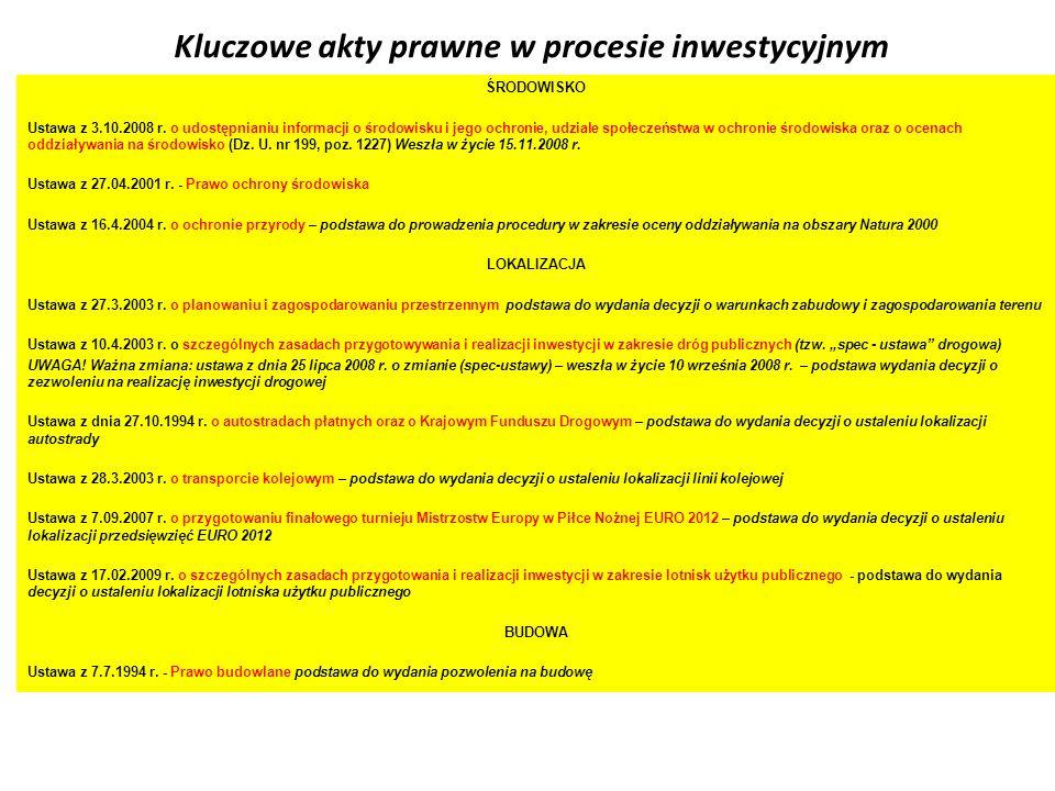 Kluczowe akty prawne w procesie inwestycyjnym ŚRODOWISKO Ustawa z 3.10.2008 r. o udostępnianiu informacji o środowisku i jego ochronie, udziale społec