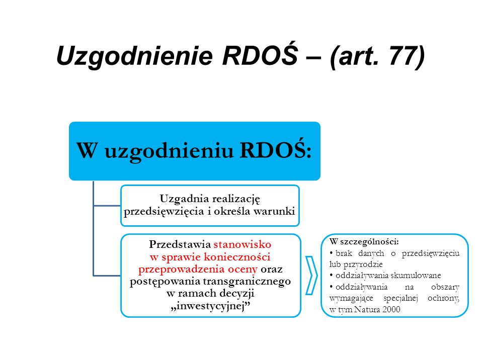 Uzgodnienie RDOŚ – (art. 77) W uzgodnieniu RDOŚ: Uzgadnia realizację przedsięwzięcia i określa warunki Przedstawia stanowisko w sprawie konieczności p