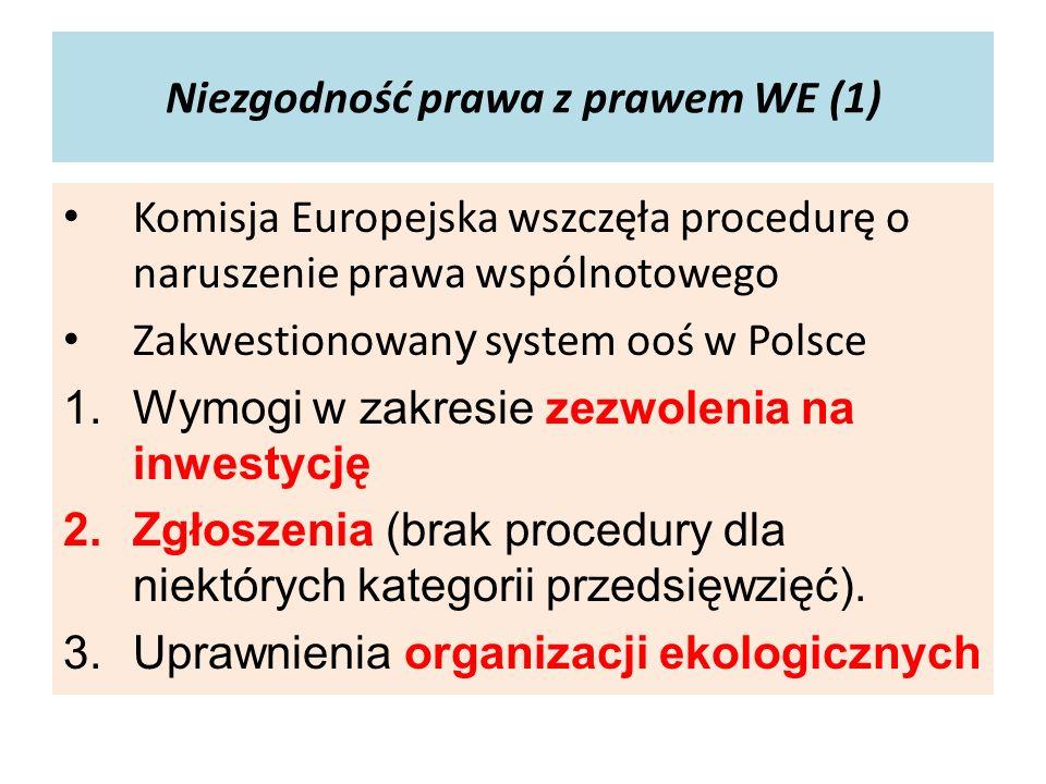 Niezgodność prawa z prawem WE (1) Komisja Europejska wszczęła procedurę o naruszenie prawa wspólnotowego Zakwestionowan y system ooś w Polsce 1.Wymogi