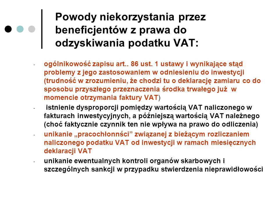 Powody niekorzystania przez beneficjentów z prawa do odzyskiwania podatku VAT: - ogólnikowość zapisu art.. 86 ust. 1 ustawy i wynikające stąd problemy