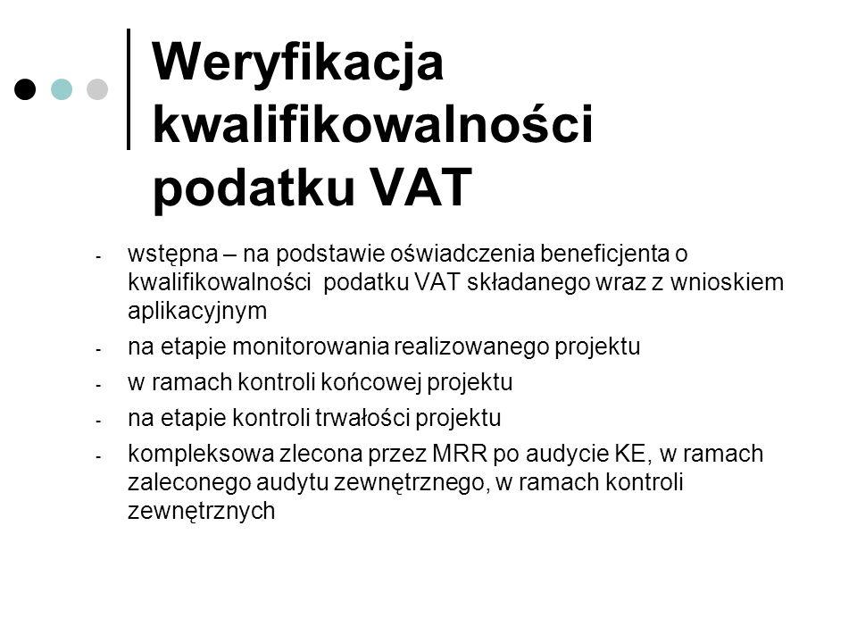 Weryfikacja kwalifikowalności podatku VAT - wstępna – na podstawie oświadczenia beneficjenta o kwalifikowalności podatku VAT składanego wraz z wnioski