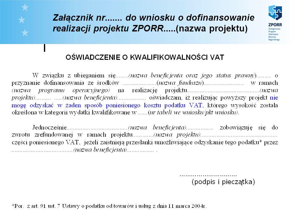 Załącznik nr....... do wniosku o dofinansowanie realizacji projektu ZPORR.....(nazwa projektu)