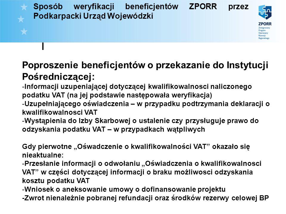 Sposób weryfikacji beneficjentów ZPORR przez Podkarpacki Urząd Wojewódzki Poproszenie beneficjentów o przekazanie do Instytucji Pośredniczącej: -Infor