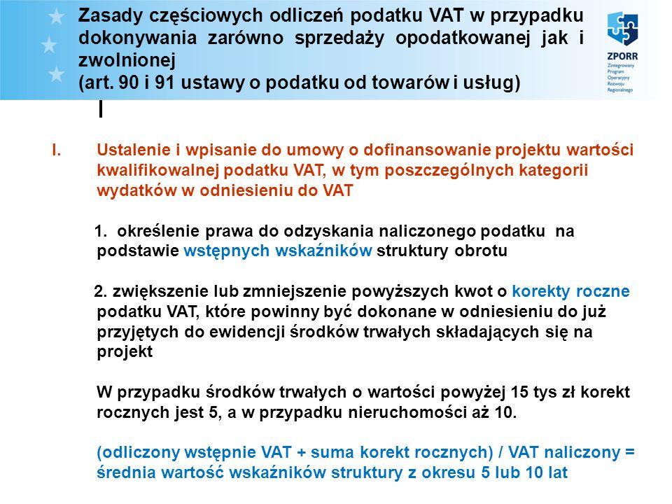 Zasady częściowych odliczeń podatku VAT w przypadku dokonywania zarówno sprzedaży opodatkowanej jak i zwolnionej (art. 90 i 91 ustawy o podatku od tow